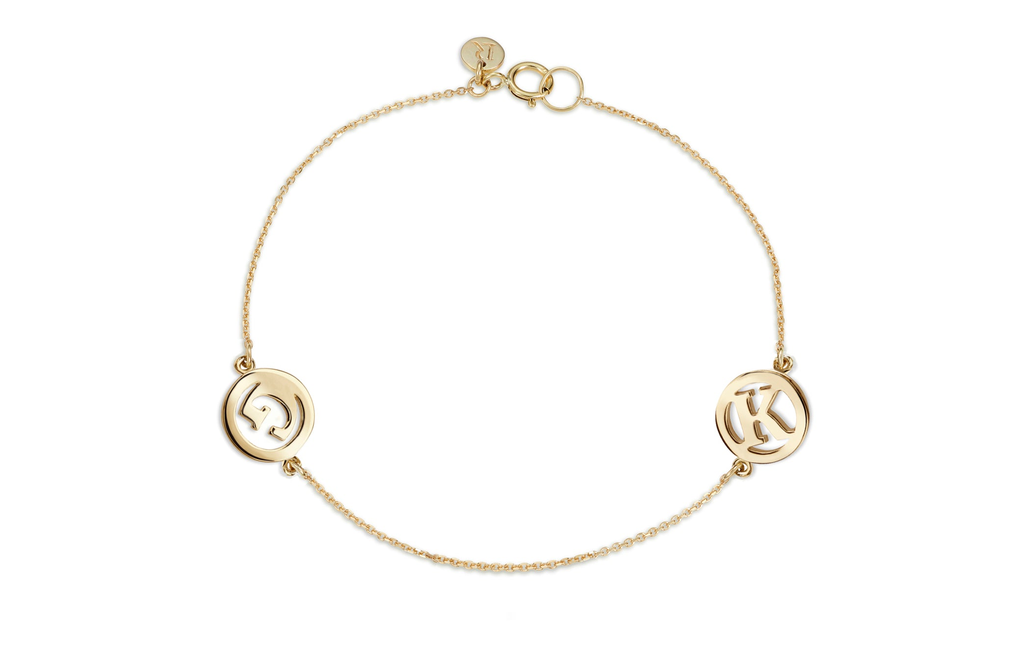 Luke Rose Jewellery me and my gold initial bracelet