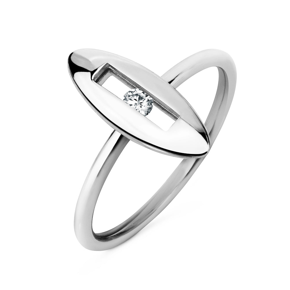 White Slide Ring White Gold