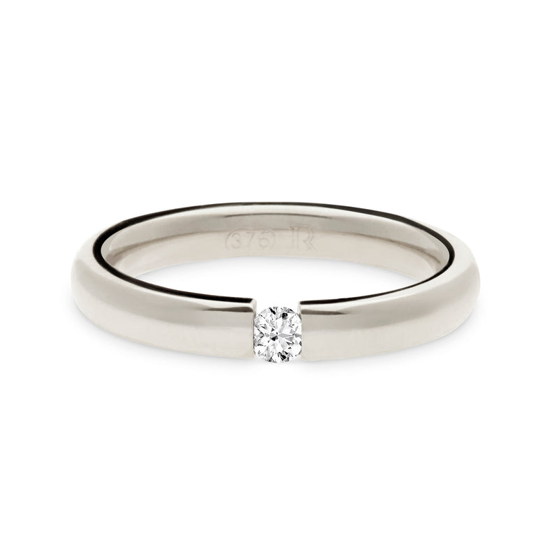White Gold Tension Set Engagement Ring by Luke Rose