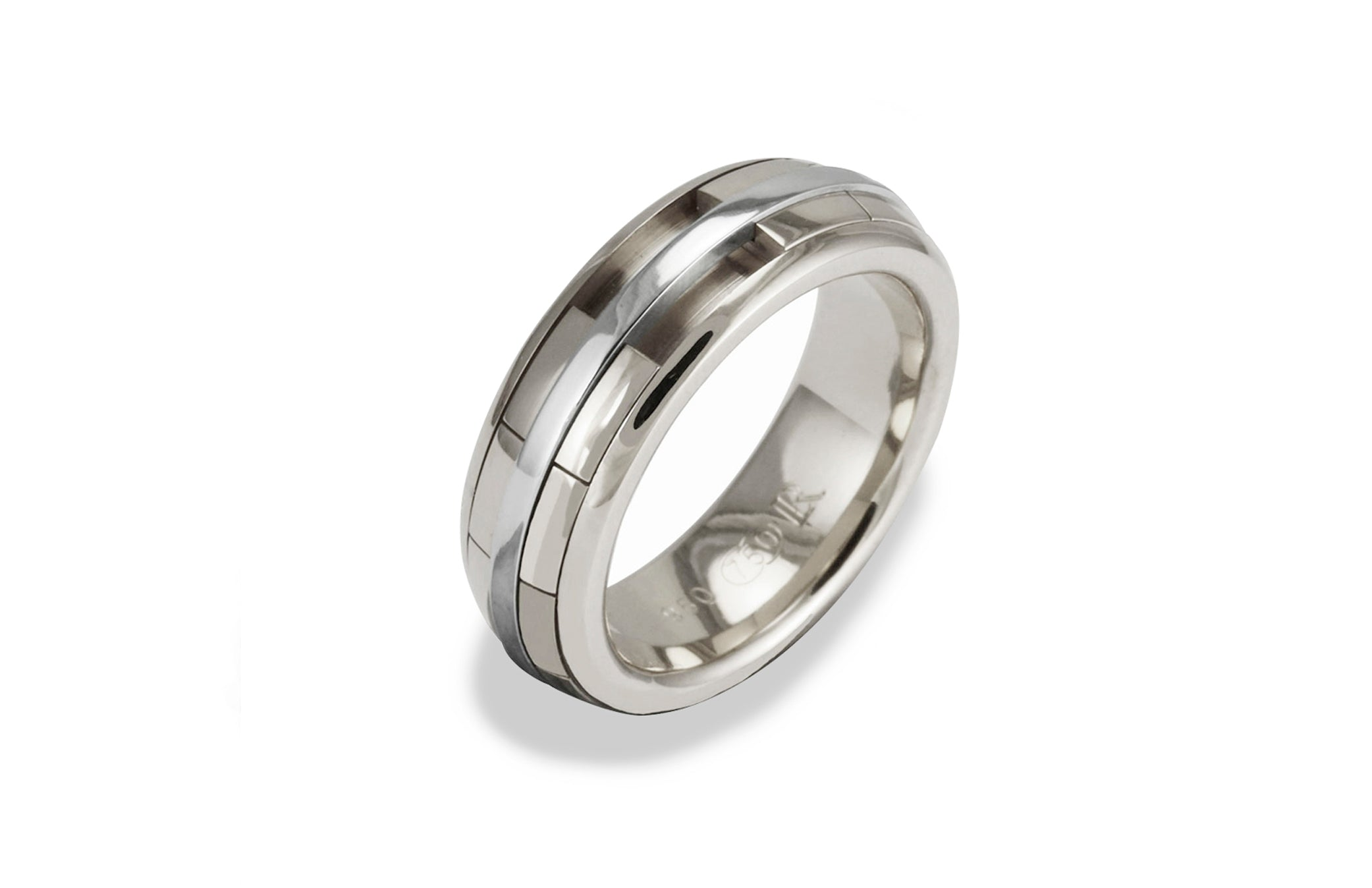 Mens REVOLVER Ring in 18ct White Gold