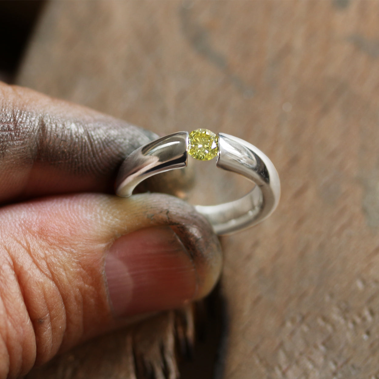Tension Set Engagement Ring by Luke Rose in Australia