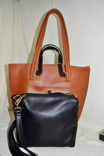 2 in 1 Elongated Tote Bag with Button Detail