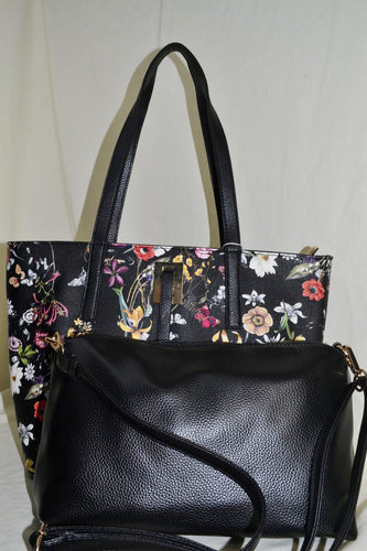 2 in 1 Floral Tote Bag with Strap Detail