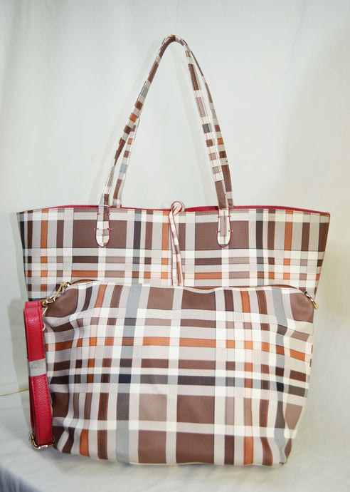 2 in 1 Plaid Reversible Tote