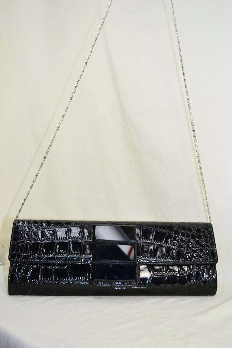 Snakeskin Clutch with Gem Stone Detailing