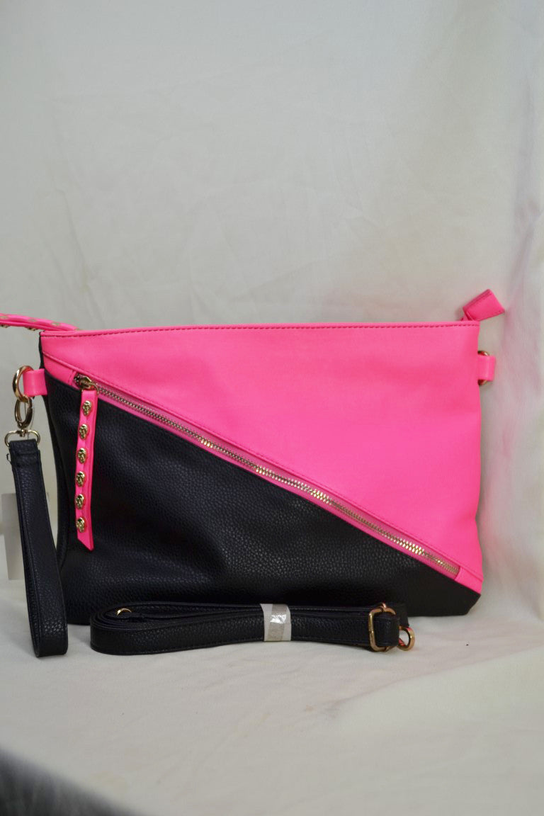 Diagonal Color Block Clutch