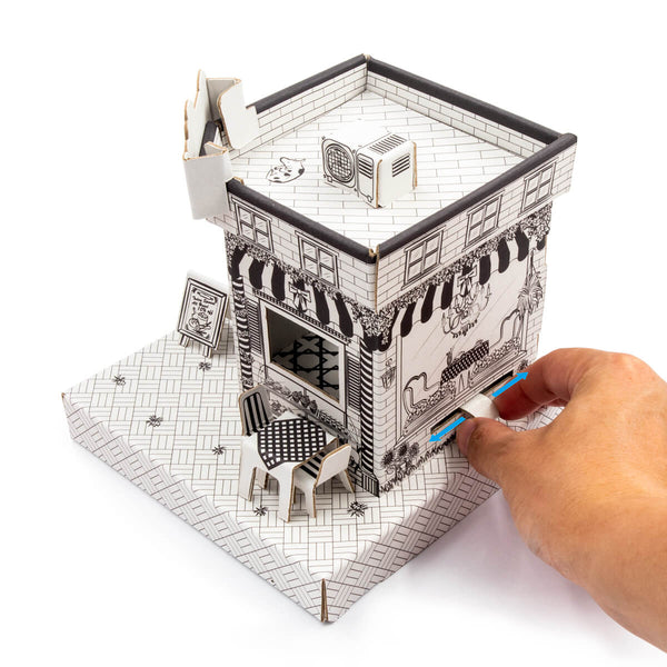 Cuboxity Cafe movable coloring paper model