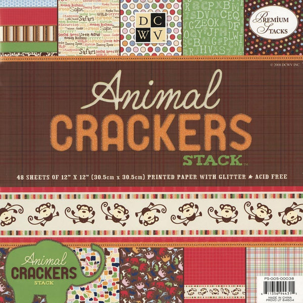 DCWV Animal Crackers Paper Stack-Cardstock-Scrapbook