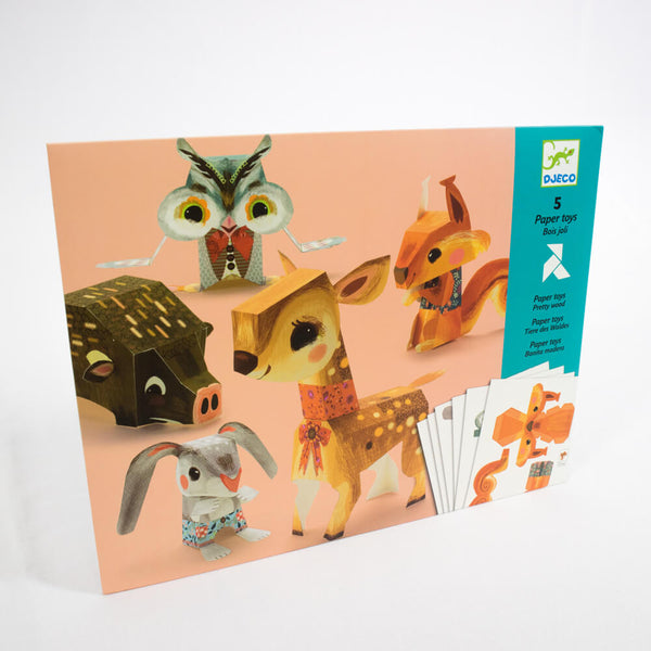 Djeco - Folding Paper Toy Kit, Pretty Woodland Animals