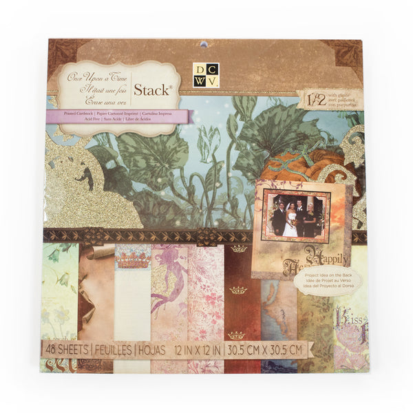 DCWV-Once Upon A Time Stack with Glitter and New Artwork-Cardstock-Scrapbook