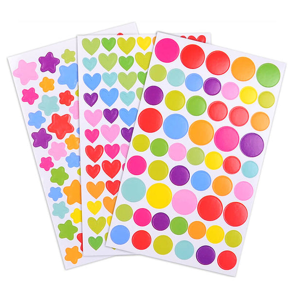 彩色圖案貼紙 (星星/心心/圓圈) 6張 Shaped Color Seal Sticker (Star,Heart,Circle) 6 Sheets