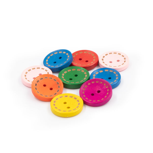 Colored Wooden Rounded Cancave Dotted Line Buttons 2 Holes 2cm