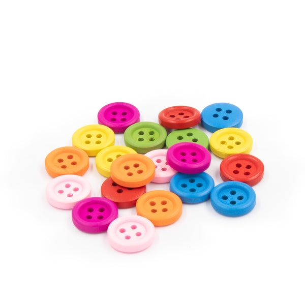 木鈕扣-圓形彩色 4孔 Colored Rounded Wooden Buttons (1.5cm / 2.5cm)