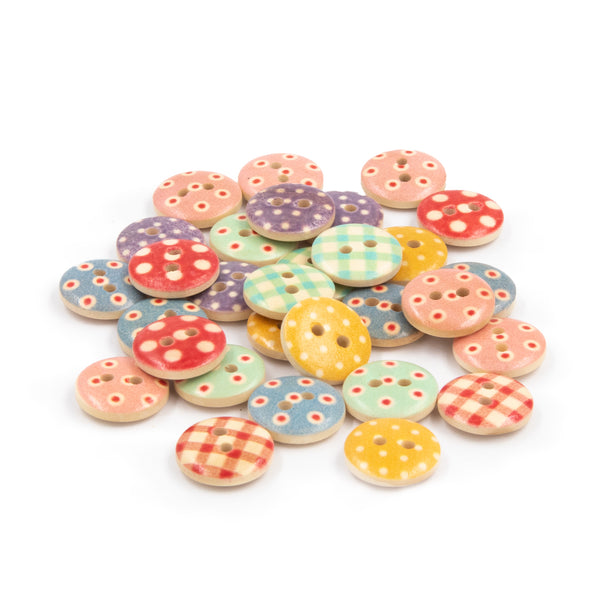 Color Wooden Buttons Gingham Dot
