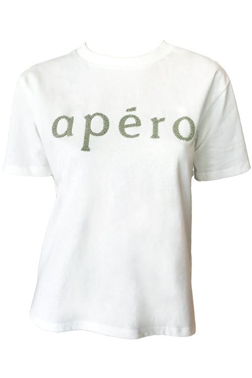 Apero Beaded Tee - Off White/Khaki