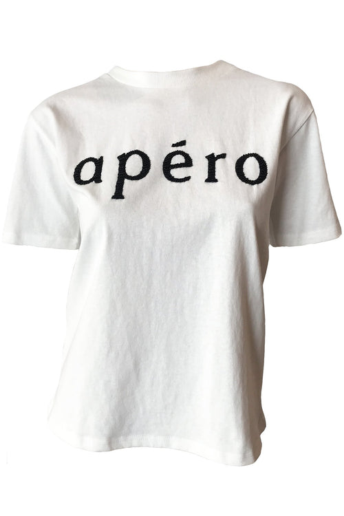Apero Beaded Tee - Off White/Black