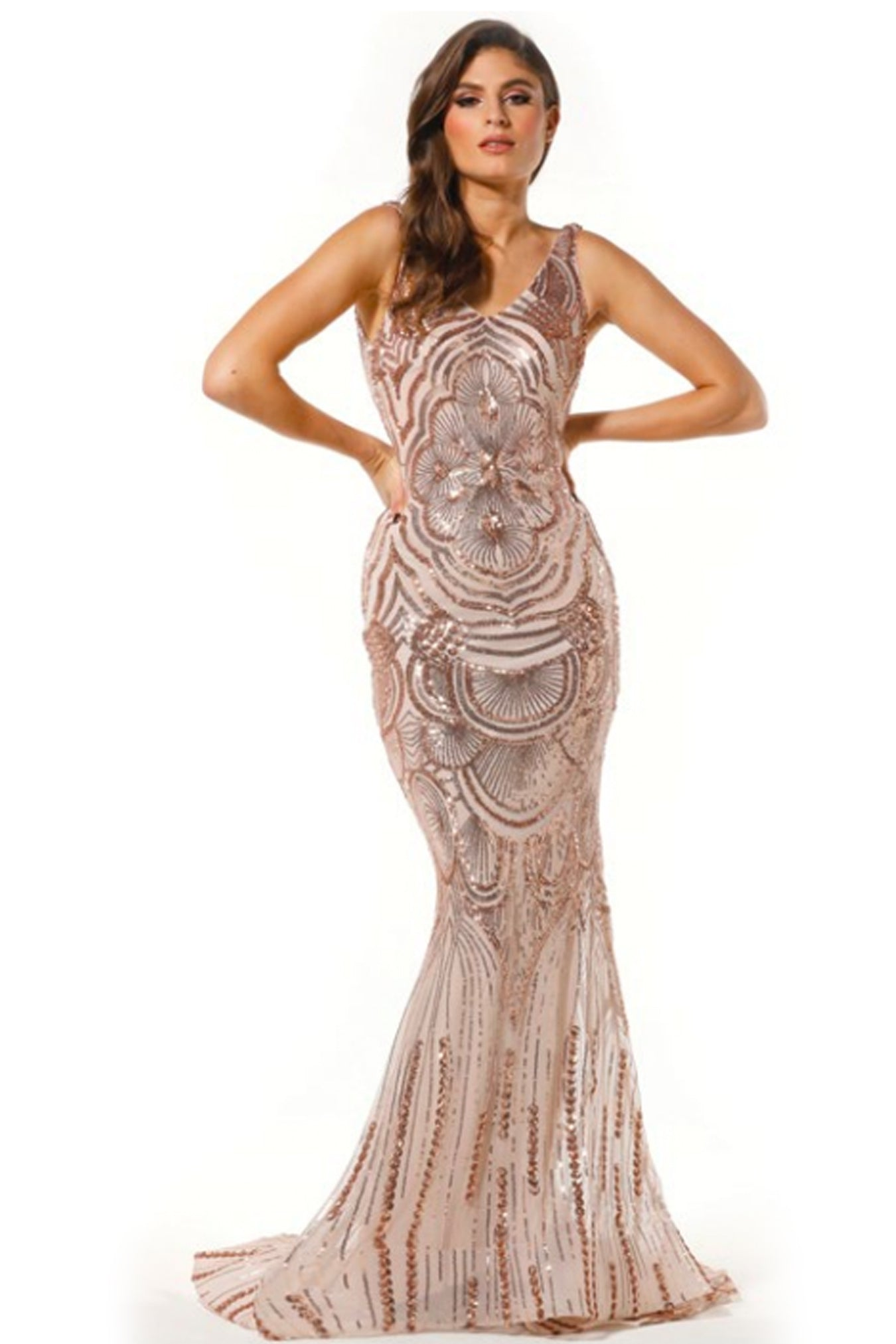 7206535ae95bb Ariana Sequin Gown - Rose Gold – Mussen Boutique