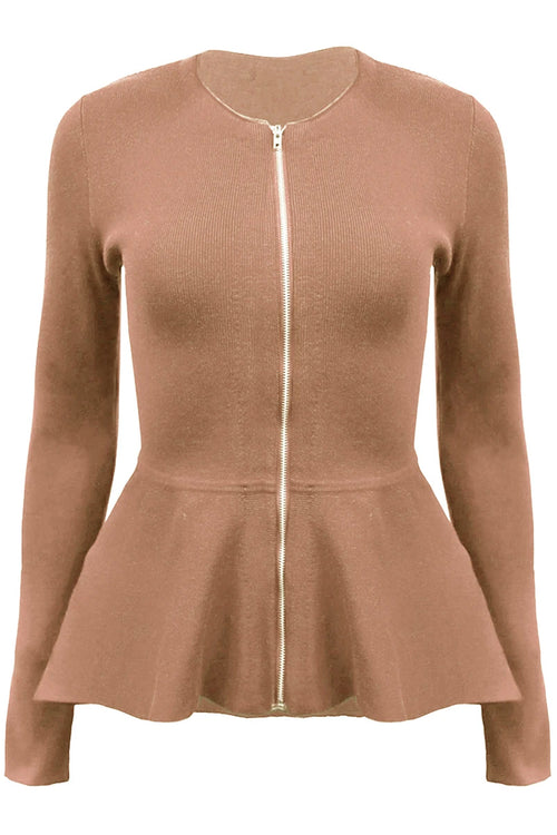 Estelle Zip Peplum Jacket - Mocha