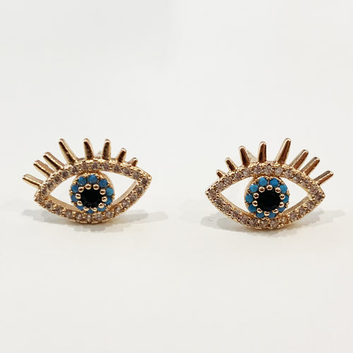 Evil Eye Studs - Rose Gold