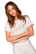 Apéro Mixed Beaded Femme Tee - White / Gold Bead