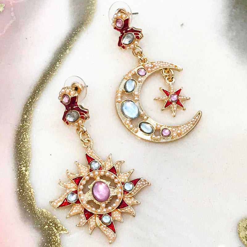 My Sun & My Moon Earring - Jewel Toned