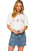 Outline Embroidered Tee - White / Multi