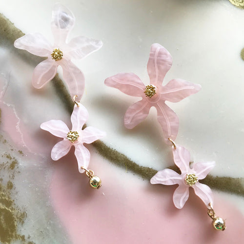 Tropical Lily Earrings - Pink