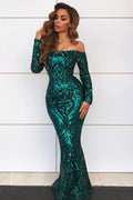 Regal Long Sleeve Gown - Emerald