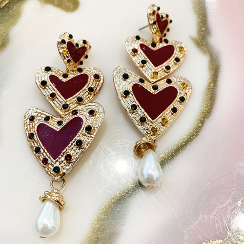Regal Love Earrings - Merlot