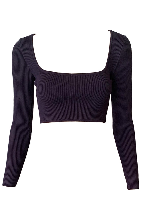 Vivi Knit Crop - Navy