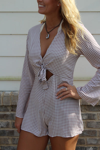 Mauve Houndstooth Romper
