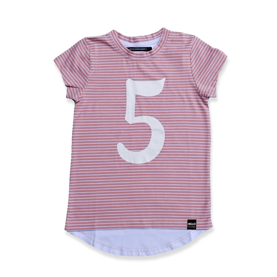 NUMBER SCOOP TEE – Dusty Pink