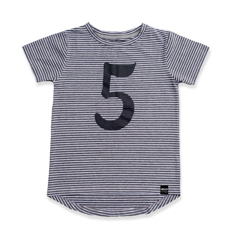 NUMBER KIDS TEE - Charcoal Stripe