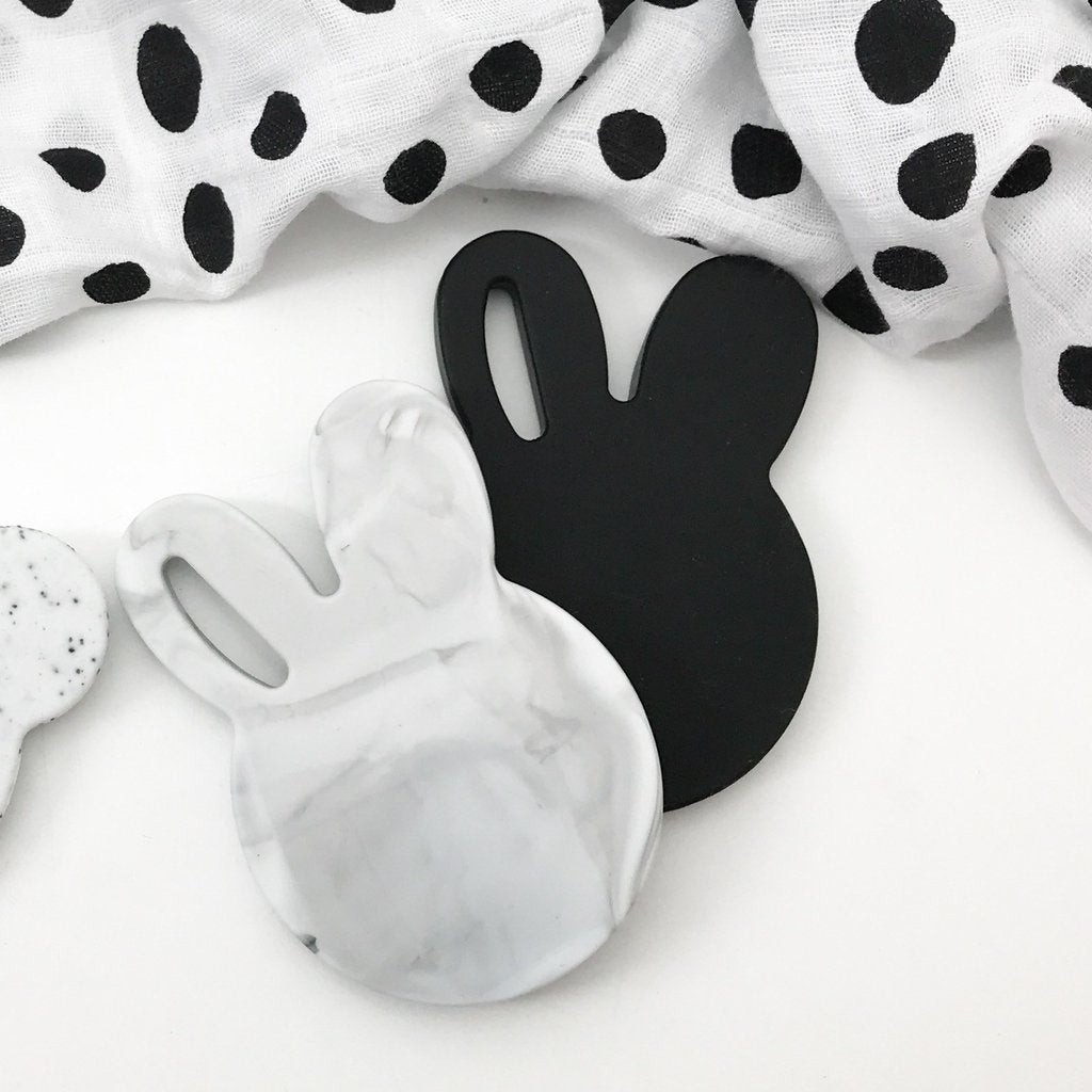 Black Bunny Silicone Teething Disc