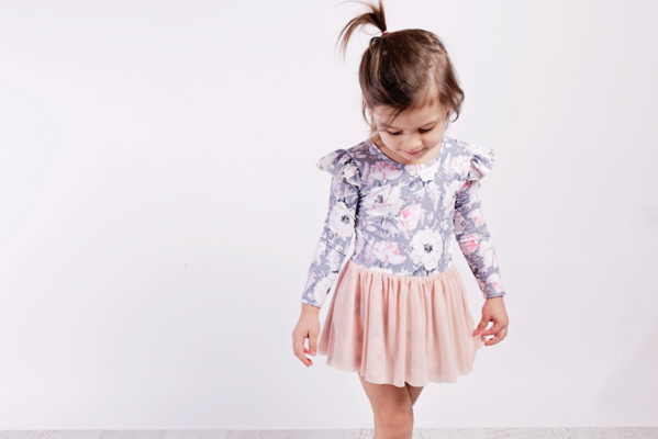 Grey Floral Luxe Long Sleeve Leotard with Blush Tutu (last one size 6-12 months)