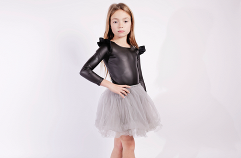 Faux Leather Longsleeve Frill Leotard