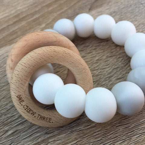 White Rattle Silicone and Wood Teether