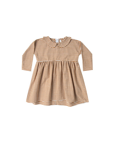 Collared Dress - Gingham - Saddle / Ivory