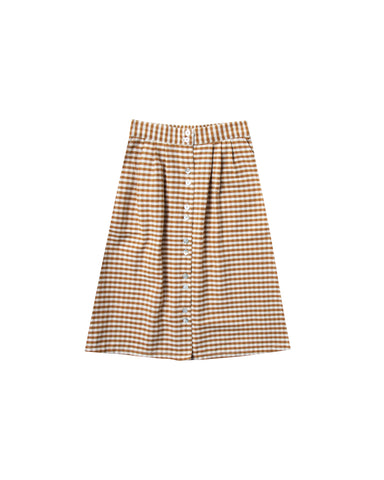 Button Front Midi Skirt - Gingham - Saddle / Ivory