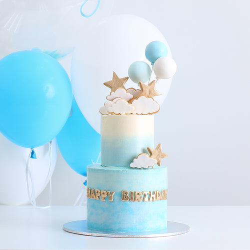 Two-tier Stars, Clouds and Balloons Cake with Balloon Bouquet Set