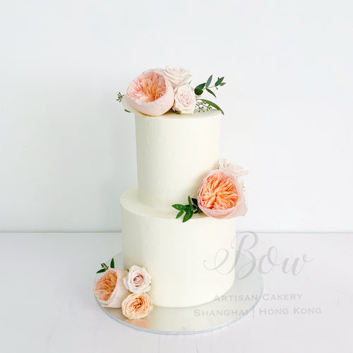 Classic Peach Wedding Cake [Two Tier]
