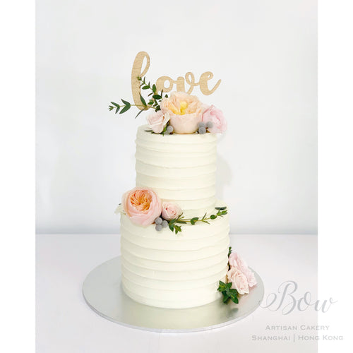 Summer Peach Wedding Cake [Two Tier]