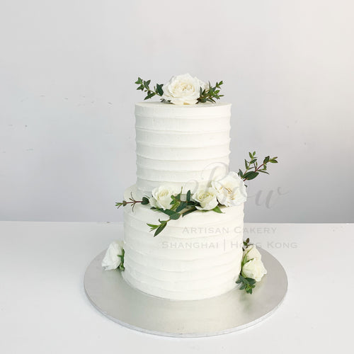 White Roses Wedding Cake [Two Tier]
