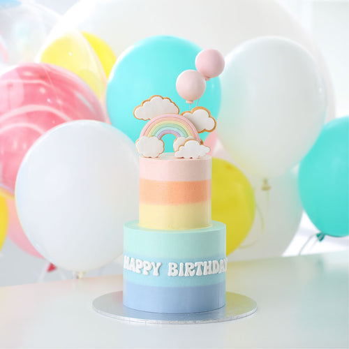 Two-tier Rainbow, Clouds and Balloons Cake with Balloon Bouquet Set