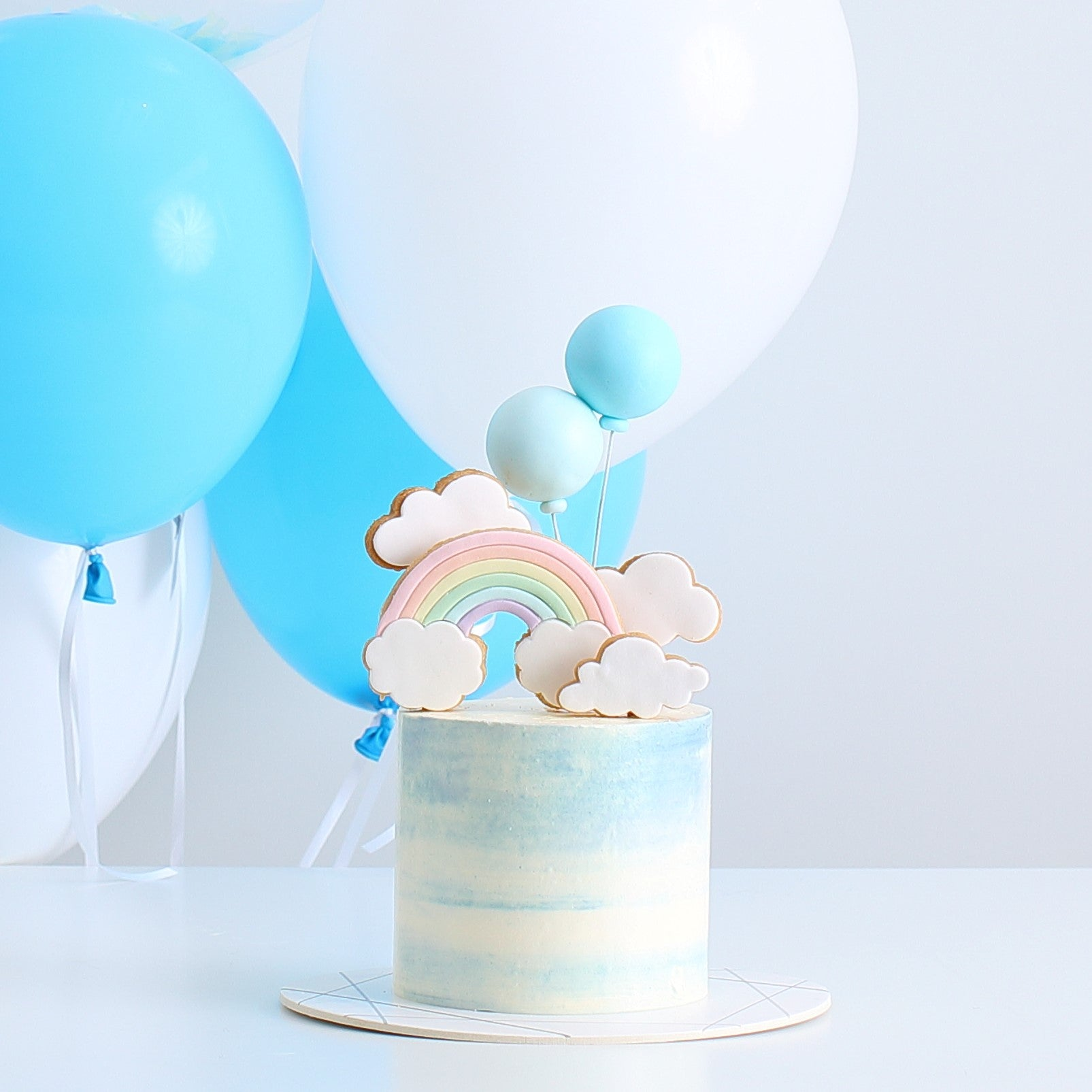 Rainbow, Clouds and Balloons Cake with Balloon Bouquet Set