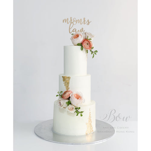 Peach Roses Wedding Cake [Three Tier]
