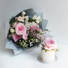 Cake & Bouquet - Strawberry Roses