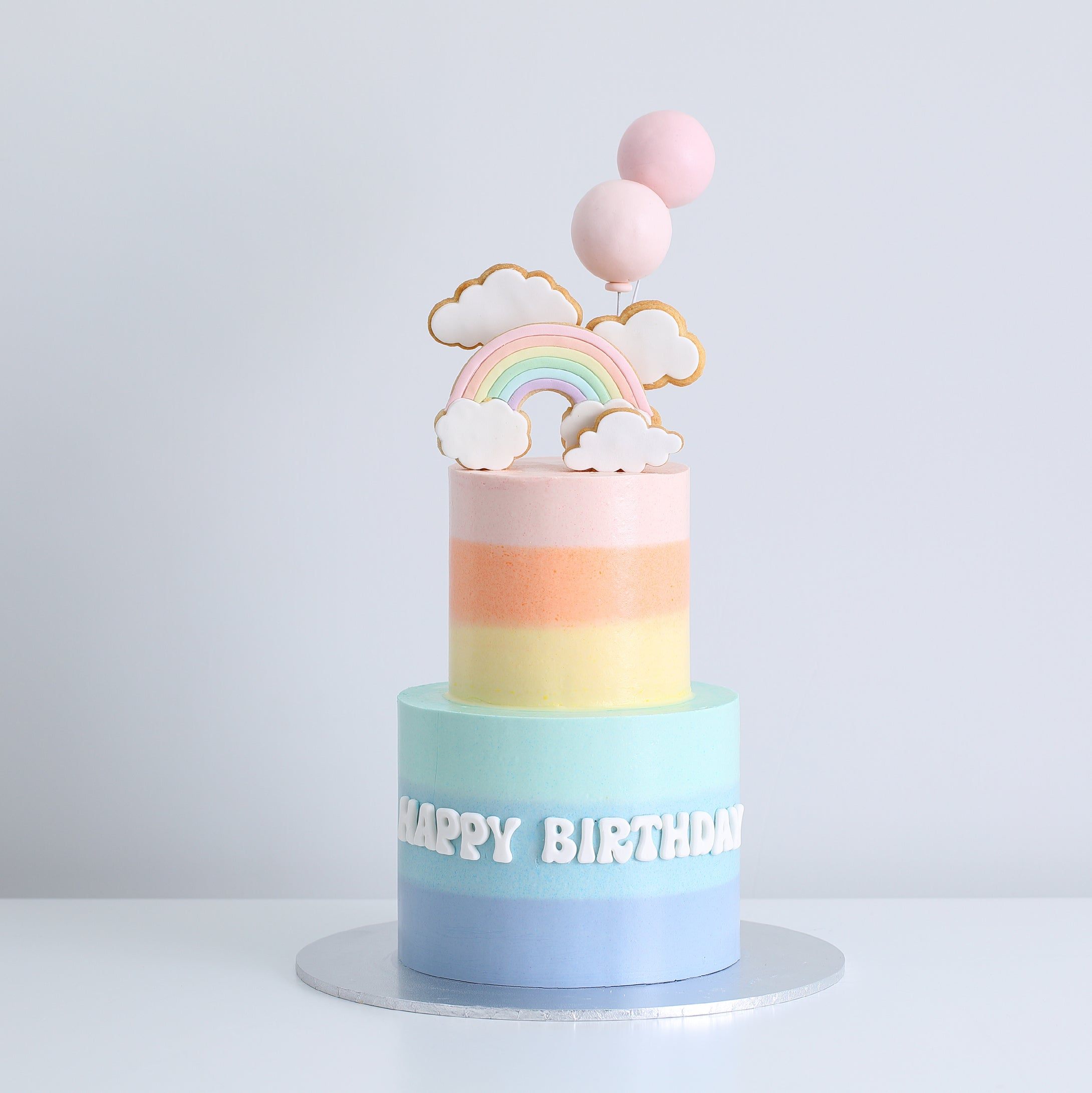 Two-Tier Rainbow, Clouds & Balloons