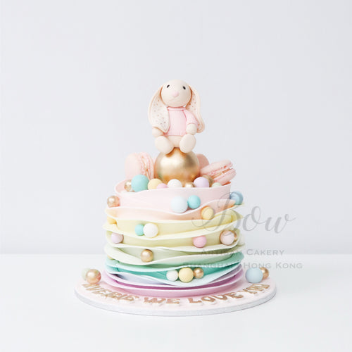 Pastel Rainbow Ruffles with Jellycat Bunny