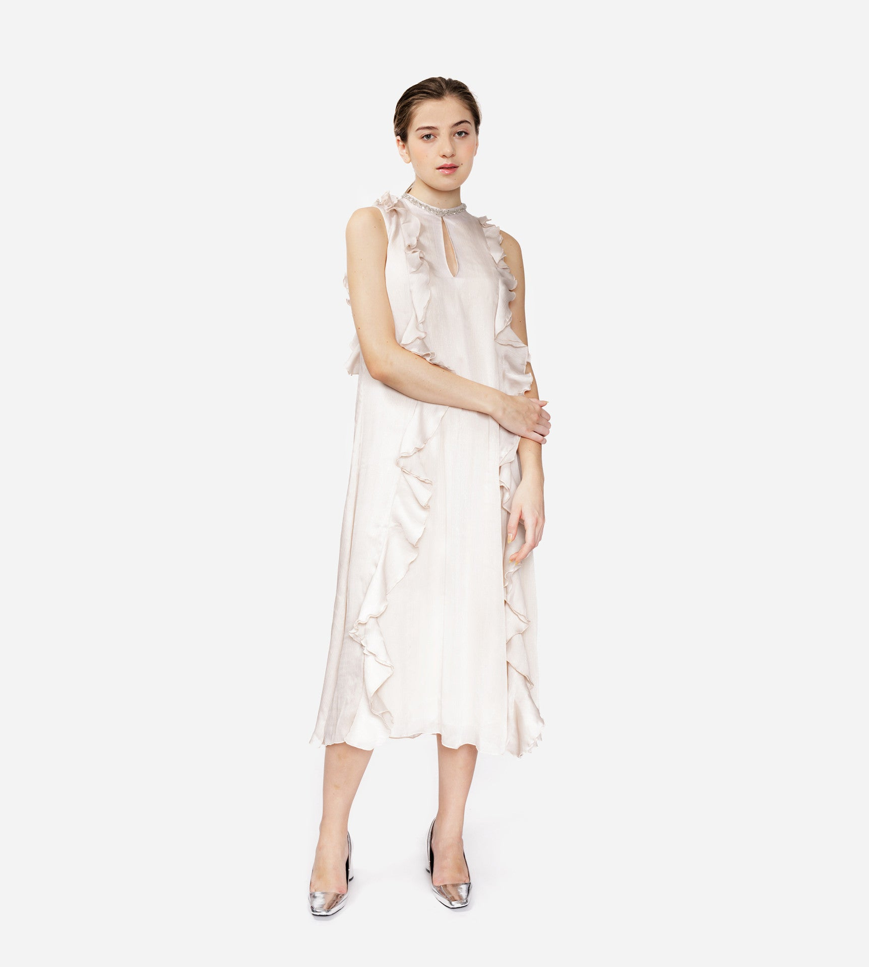 Straight-Cut Frilled Dress With Pearl Ornaments
